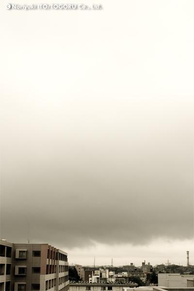 クリームのような曇り空が広がっている景色