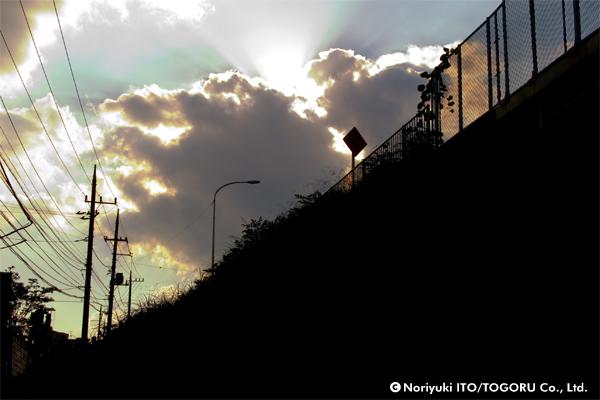 逆光の景色の向こうにある雲の間から漏れてくる光