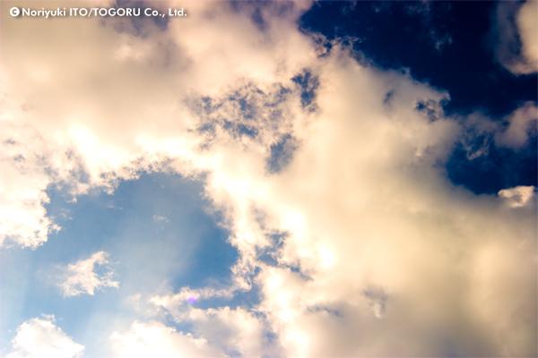 空に浮かぶ雲を下から眺める