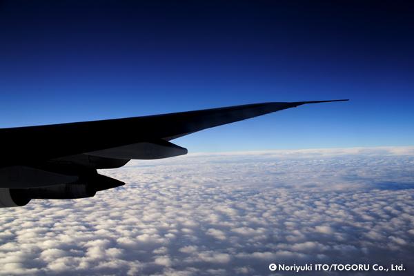 雲の上を飛ぶ飛行機の翼