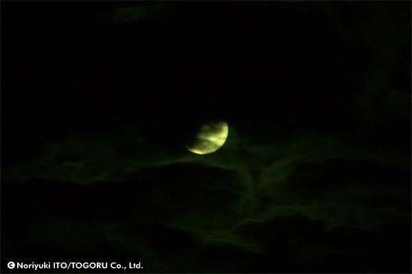 薄気味悪い雲に隠れるようにある月